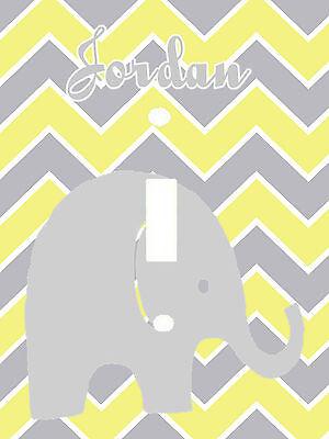 PERSONALIZED BABY ELEPHANT ZIG ZAG GRAY YELLOW CHEVRON LIGHT SWITCH PLATE COVER
