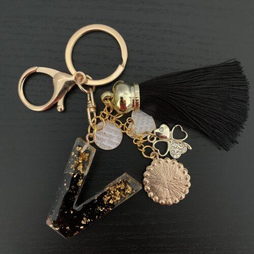 Personalisierte Schlüsselanhänger Buchstabe Name Edelsteine Obsidian Schwarz