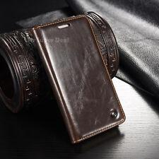 HTC One M9 Tasche Etui Flip Case Leder Synthetisch Cover Hülle Zubehör Neu Braun