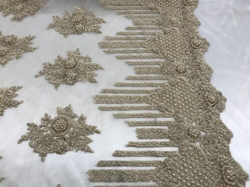 Embroidered Mesh Floral//Flower Bridal Taupe By The Yard Beaded Lace Fabric
