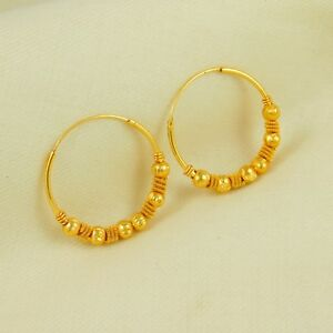 Image Is Loading Indian Gold Plated Hoop Earrings Bollywood Designer Wedding