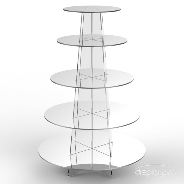 5 Tier Cup Cake Stand Wedding Birthday Party Acrylic Cupcake Display - Round