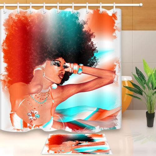 Shower Curtain African American Afro Hair Women Bath Waterproof Fabric Hooks Mat