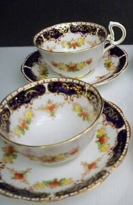 3 ROYAL STANDARD CUPS AND 3 SAUCERS FINE BONE CHINA FROM ENGLAND COBALT