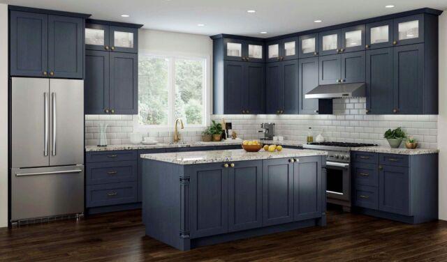 11 x 14 Door Sample In Elegant Ocean Blue Shaker Kitchen Cabinet Vanity  Cabinets