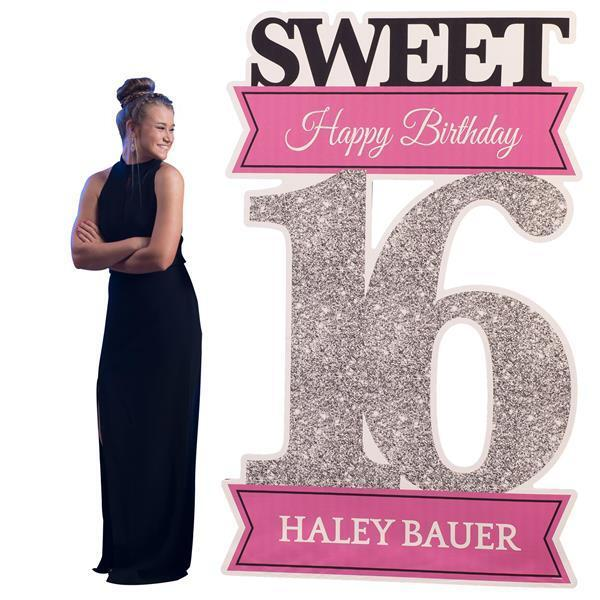 Sweet 16 Photo Stiefelh Standee personalize glitter super party girl