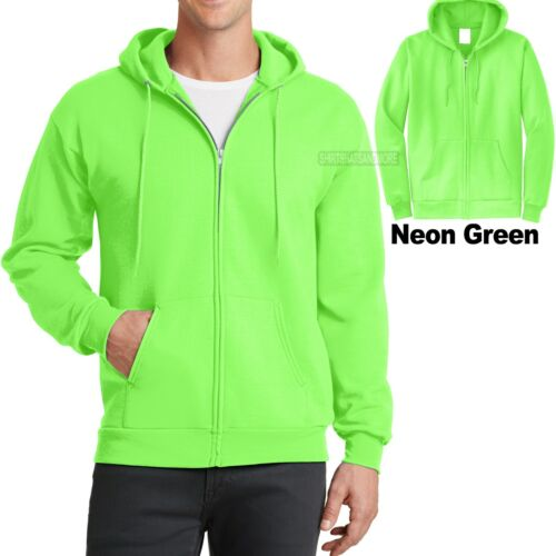 Mens Full Zip Hooded Sweatshirt NEON GREEN Hoodie Hoody Sizes S-4XL Cotton//Poly