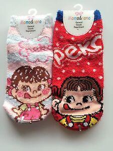 2-PAIRS-Japan-Lady-Women-Girls-Peko-CHAN-Warm-Thermal-Winter-Fleece-Short-Socks