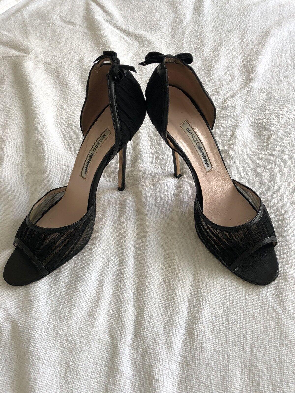 Manolo Blahnik nero Patent Leather Open Toe High Heel Pump  scarpe in oro SZ 40  a buon mercato