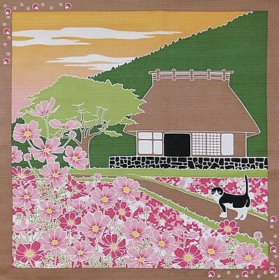 Japanese 12 Seasons in Kyoto Tama The Cat Furoshiki Scarf Cosmos in Bloom