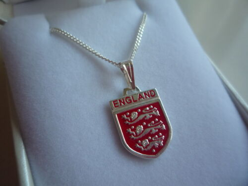 new sterling silver chain 18inch and england lions badge pendant