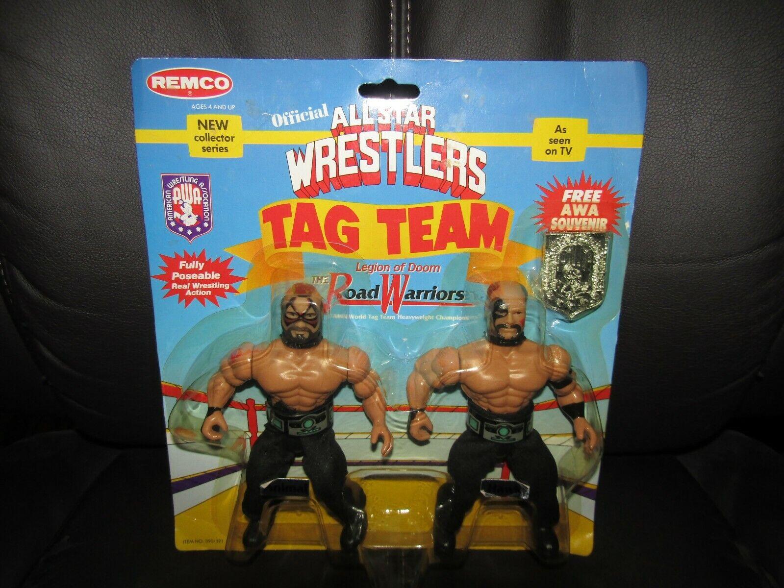 REMCO Awa WWF NWA All Estrella Wrestling  viajero frecuente  mundo TagTeam Champs, verdadera MOC