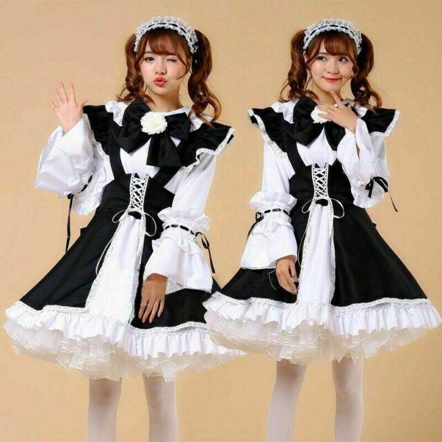Japanese Maid Lolita Outfit Anime Cos Uniform Waitress Costume Kawaii Retro A1