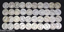 1937 D WASHINGTON QUARTERS GOOD G - FINE F AVG CIRC FULL ROLL 40 SILVER COINS