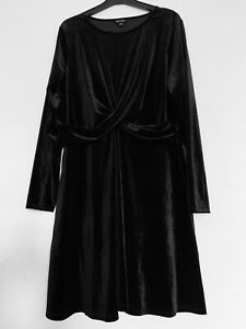 Simply Be Black Wrap Dress Velvet Party A-Line Flared Knee Length Plus Size 14