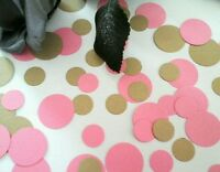 200 PINK AND GOLD CIRCLE TABLE CONFETTI. WEDDING PARTY BABY SHOWER  HEN NIGHT
