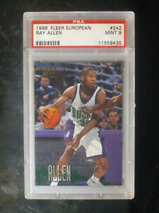 1996-Fleer-European-242-Ray-Allen-Rookie-Milwaukee-Bucks-PSA-9-MINT-513