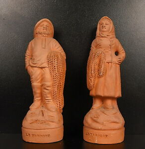"""Couple Thinking Terracotta """" The Treport """" H 5 11/16in Georges Tilges / Hanne"""