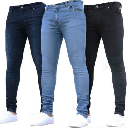 Men/'s Stretch Slim Fit Denim Pants Casual Long Plain Trousers Skinny Jeans Tight