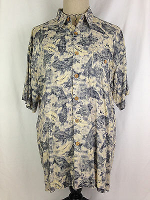 M.E. Sport Mens Hawaiian Shirt XL Sz Blue Floral Beach Surf Short Sleeve Rayon