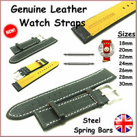 Genuine Leather Watch Straps Bands Black Replacement Steel Sping Bar Pin Link