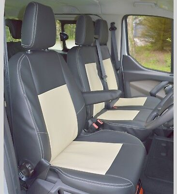 Rhinos-Autostyling FOR FORD TRANSIT SWB MWB LWB 2 1 Premium Luxury Van Seat Covers Single Drivers And Double Passengers Seat Covers Black Quilted Diamond Leather
