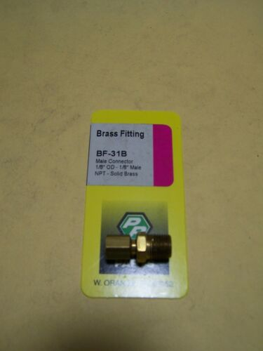 """Male connector with 1//8/"""" OD to 1//8/"""" male NPT Brass Fitting"""