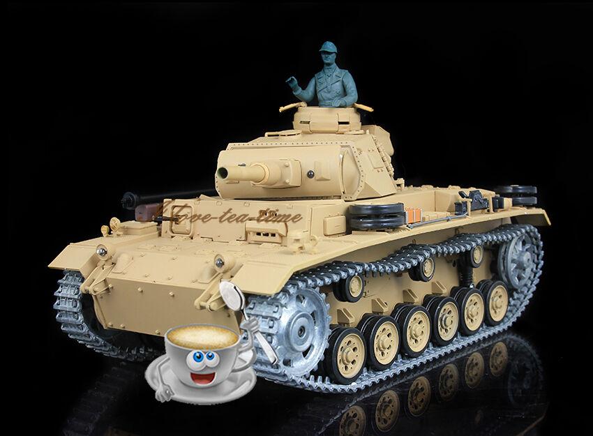 Henglong 1 16 Alemán Panzer III H RC Tanque Actualizado metal versión Airsoft smog 3849-1