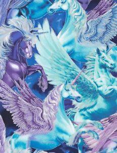 Animal-Fabric-Packed-Pegasus-Unicorn-Blue-Purple-Timeless-Treasures-YARD