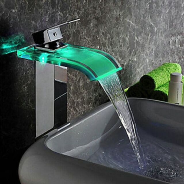 LED Glass Waterfall Spout Bathroom Basin Faucet Tall Square Vanity ...