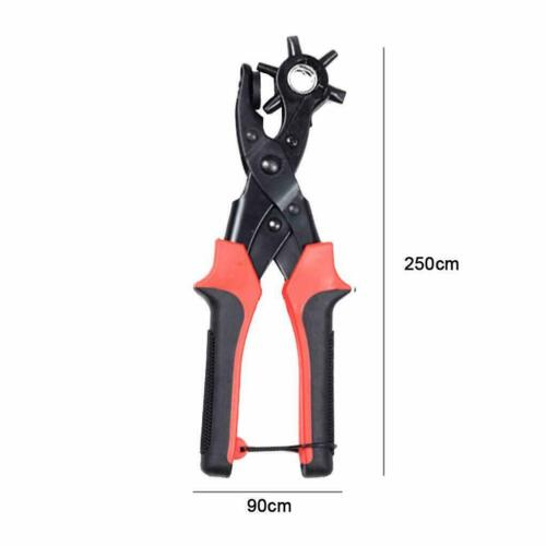 """6 Sized 9/"""" Heavy Duty Leather Hole Punch Hand Plier Belt Holes Revolving Punches"""