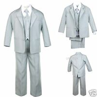 Baby Toddler Teen Boys Wedding Formal Party Tuxedo Suit Silver Lt. Gray S-20