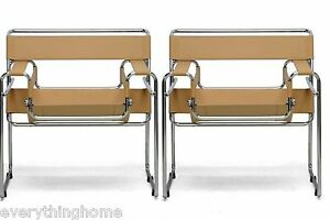 2x-WASSILY-STYLE-CHAIRS-LIGHT-BROWN-TAN-CAMEL-LEATHER-STRAP-CHROMED-STEEL-FRAME