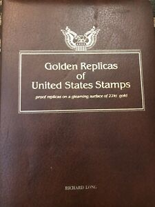 Gold-Golden-Replicas-United-States-Stamps-22k-Total-of-55-Stamps-Years-1987-1989