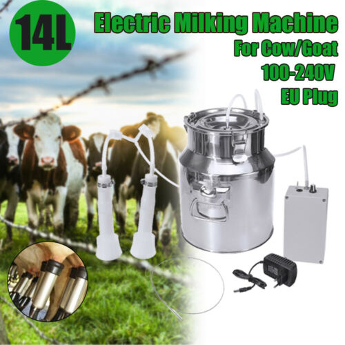 14L Electric Milking Machine Vacuum impulse Pump Stainless Steel Cow//Goat