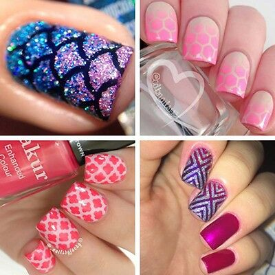 12Tips / Sheet Nail Art Manicure Stencil Stickers Nails Stamping Vinyls DIY