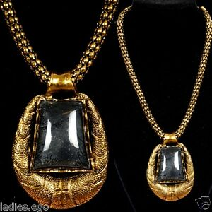 ELEGANTE-MACIZO-Collar-Collar-Colgante-Antiguo-Oro-oPTICA-NEGRO-aghat-MEDALLoN