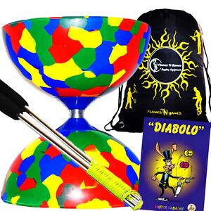 Jester Diabolo (4Col) Metal Diabolo Hand Sticks + Diablo Tricks Book +Travel BAG
