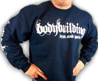 Bodybuilding Clothing Sweatshirt Workout Top Navy Iron & Pain Logo D-26