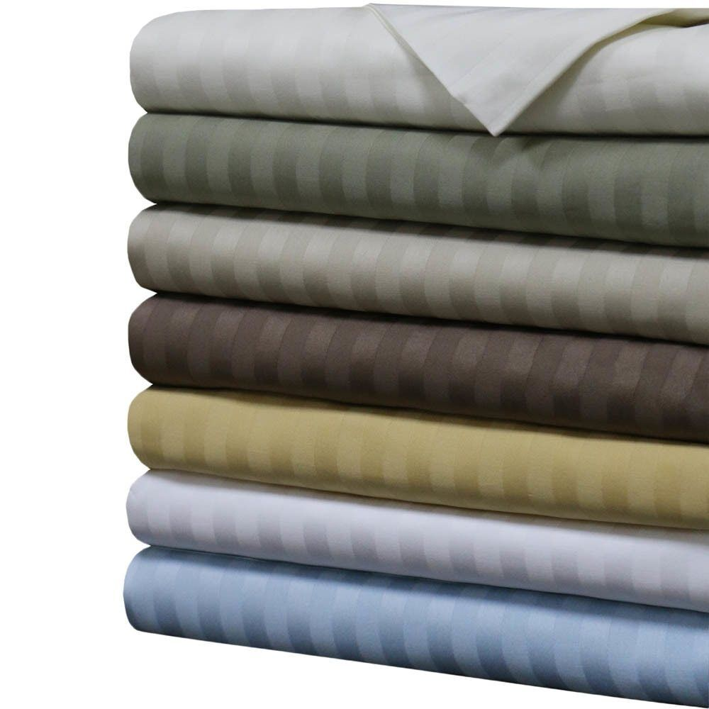 1000 Thread Count Damask Stripe Sheets 100% Cotton Ultra Soft Sateen Sheet Set