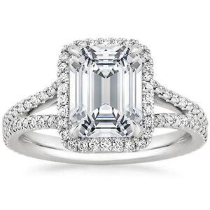 98ada78a9de3 2.55 Ct Solitaire Emerald Cut Split Shank Halo Engagement Ring 14k ...