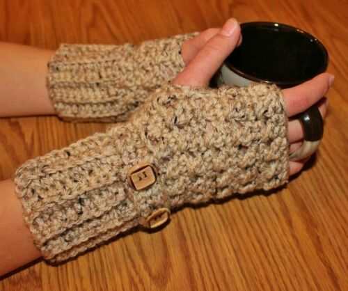 Oatmeal Handmade Crochet Fingerless Gloves Arm Warmers Hand Warmers