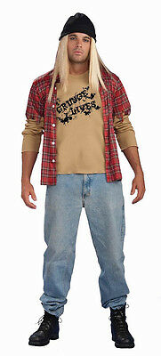 Grunge Guy 90's Rocker Rock Star Plaid Fancy Dress Up Halloween Adult Costume