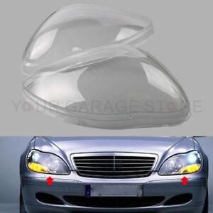Paar-Links-Rechts-Scheinwerferglas-Streuscheibe-Fuer-Benz-W220-S600-S500-98-05