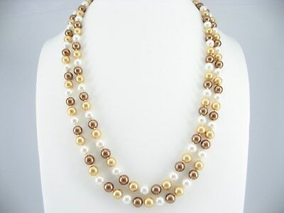 Brown Caramel White Shells long Necklace