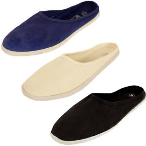 women canvas mule slip on shoes flats slides open back