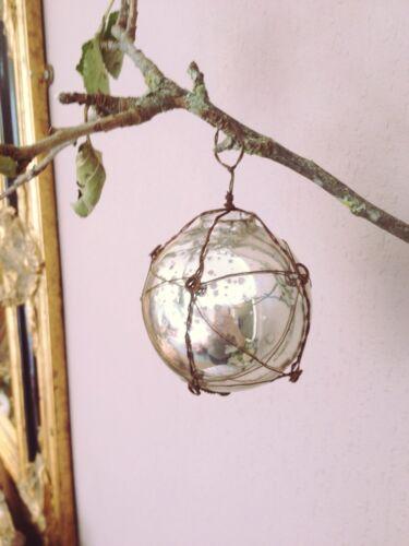 Shabby Chic Arbre de Noël Décoration Fil d'argent enveloppé babioles en verre de mercure