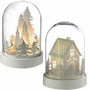 pre lit house bell jar warm led christmas - Wooden Led Christmas Decoration