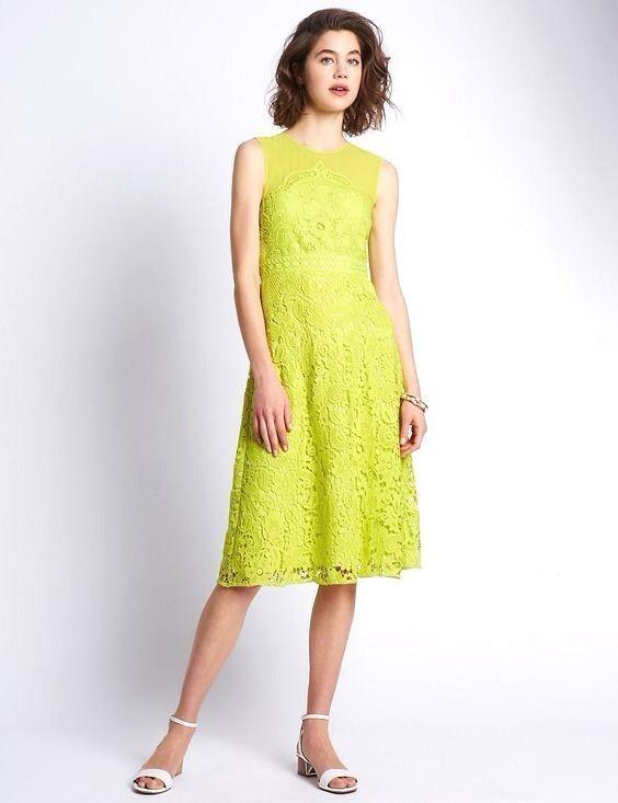 New M&S Per Una Speziale Lime Lace Dress Sz UK 10 14 16 18