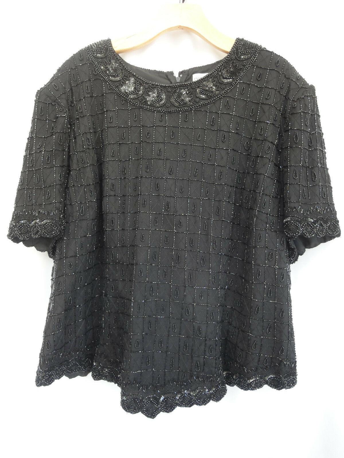 Papell Boutique evening Women's 3X black Beaded Formal blouse Top Silk
